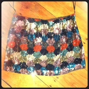 French Connection paintbox sequined skirt